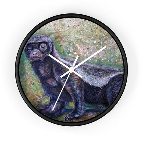 "Jamba Honey Badger Fine Art, 10"" Diameter Badgers Fine Art Wooden Wall Clock, Made in USA - alicechanart"