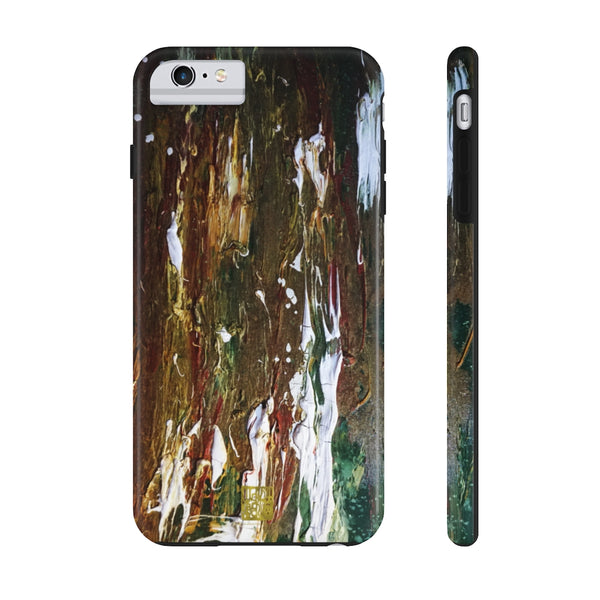 Green Waves Art iPhone Case, Case Mate Tough Samsung or Phone Cases-Made in USA