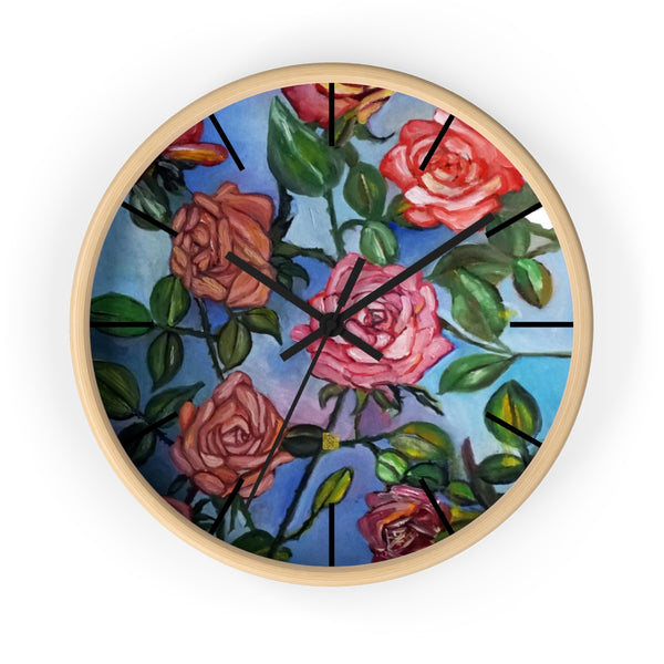 "Pink Rose In Blue Sky, Floral Unique Modern Large 10"" Wall Clock, Made In USA - alicechanart"