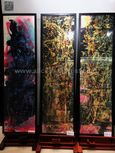 "Set of 3 Original Chinese Ink Paintings- ""The Orchestra Of Life"", 54.5cmX187cm - alicechanart"