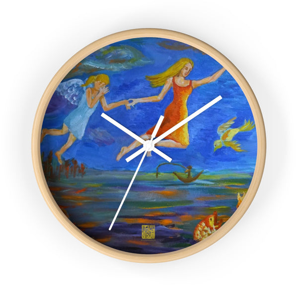 Angels From Heaven, Designer 10 inch Designer Modern Wall Clock, Made in USA - alicechanart