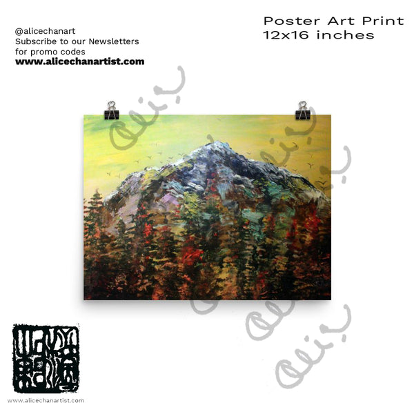 """Mountain Rainier in Yellow Sky"", Poster Art Print - Made in USA - alicechanart"