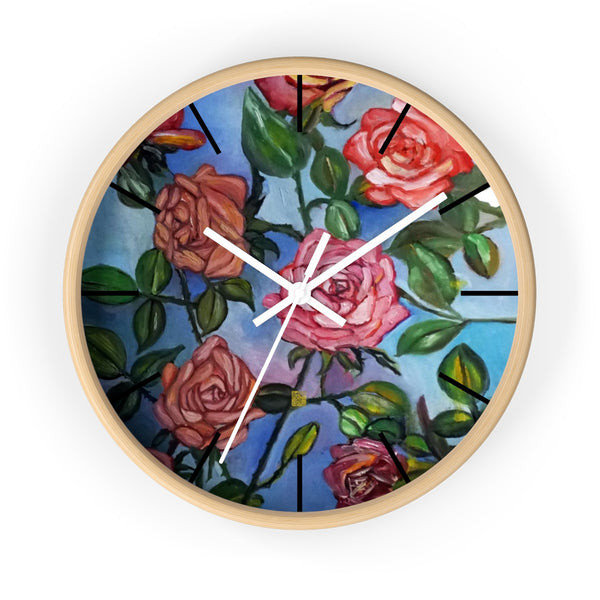 Pink Rose In Blue Sky, Floral Unique Modern Wall Clock, Made In USA