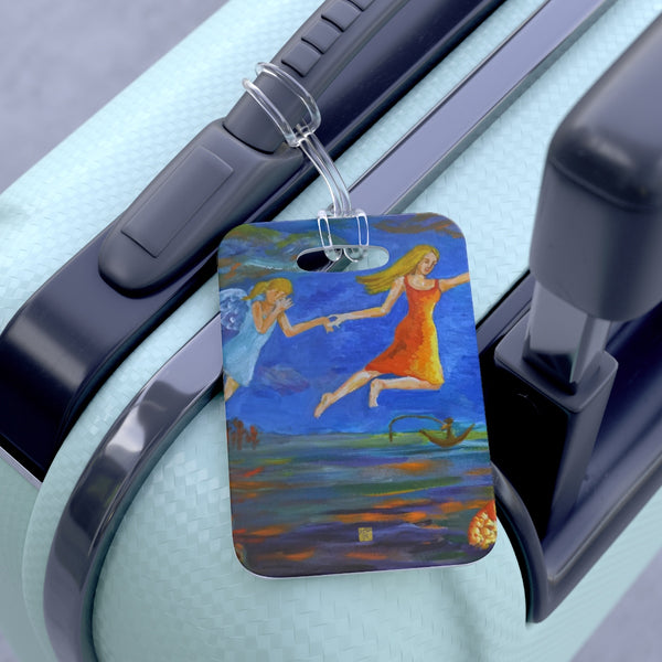 """Angels From Heaven"" Guardian Angel, Glossy Lightweight Durable Bag Tag, Made in USA - alicechanart"