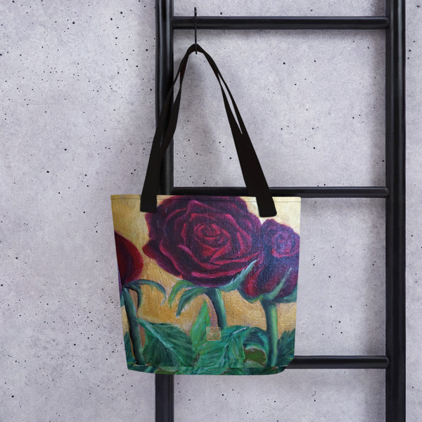 "Red Roses In Gold Accent Floral Print, 15""x15"" Designer Fine Art Tote Bag, Abstract Art, Made in USA/Europe, Orchid Tote Bag, Orchid Flower Tote Bags"
