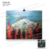"""Mount Rainier in Blue Sky"", Art Print Matte Paper Museum Quality Poster,Made in USA - alicechanart"