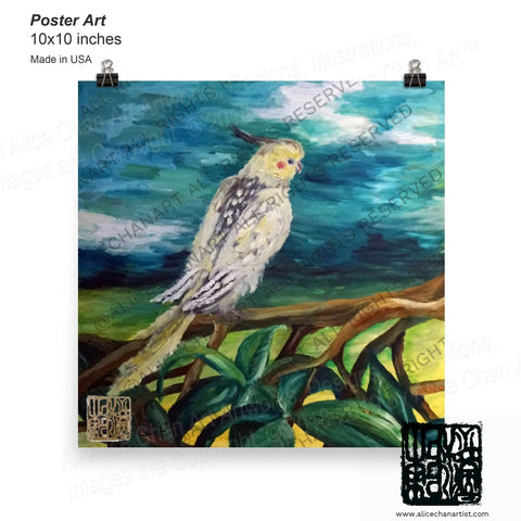 Cockatiel White Parrot Resting On A Tree Branch, Art Poster, Made in the USA - alicechanart