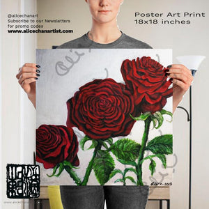 Romantic Triple Deep Red Roses in Silver Poster Art Print, Made in USA - alicechanart
