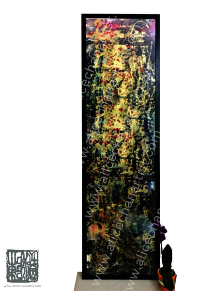 "Metallic Luxury Gold Original Chinese Ink Painting- ""The Orchestra Of Life 2 of 3"", 54.5cmX187cm, Abstract Chinese Art, Contemporary Chinese Art, Modern Art (Ready to Hang, Professional Framed Shop Wiring at the back is included for both Vertical/ Horizontal Orientations)"
