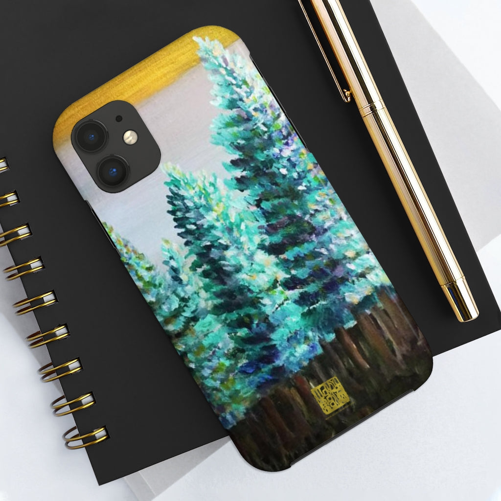 Green Pines Art iPhone Case, Case Mate Tough Samsung or Phone Cases-Made in USA