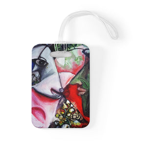 """White Horse With Green Face Man"", Glossy Lightweight Plastic Bag Tag, Made in USA - alicechanart"