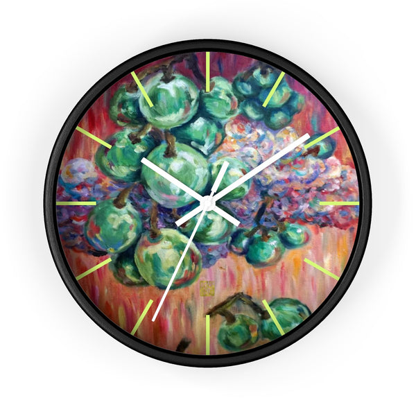 """Falling Green Grapes From The Red Hot Sky"", 10 inch Wall Clock - Made in USA - alicechanart Green Grapes Wall Clock, Fruit Art Clock, ""Falling Green Grapes From The Red Hot Sky"", 10 inch Wall Clock - Made in USA"
