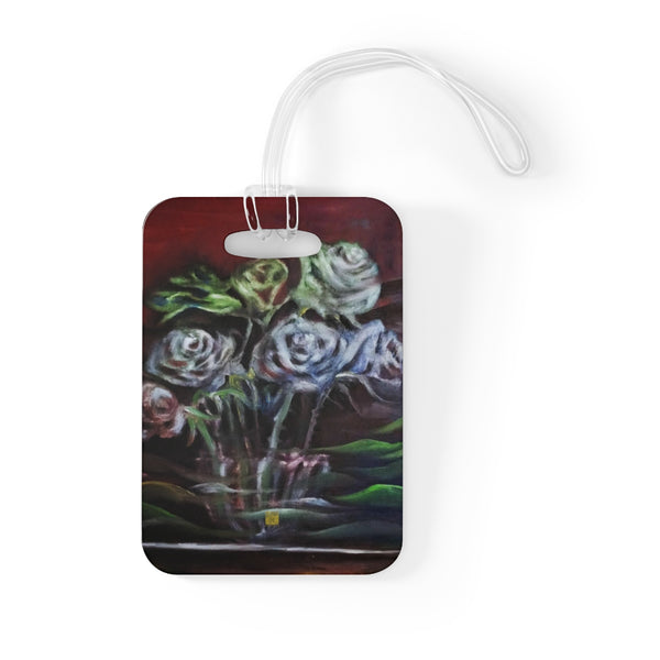 """Ghost Roses"", Floral Rose Flower, Glossy Lightweight Plastic Bag Tag, Made in USA - alicechanart"