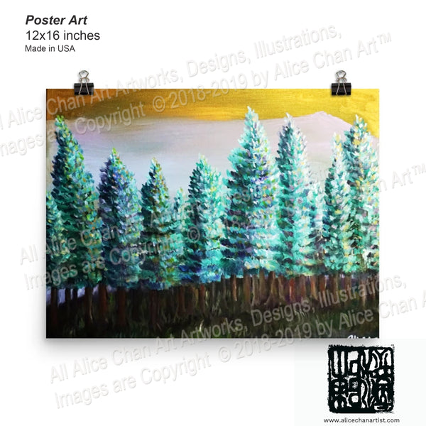 "Trees in Golden Sky Poster Art Prints,Landscape Art,Mount Rainier Art,Pine Tree Art,Mt Rainier,Fine Art Print,Pacific Northwest Seattle Art ""Trees in Golden Sky"", Landscape Mountain Poster Art Print, Made in USA"