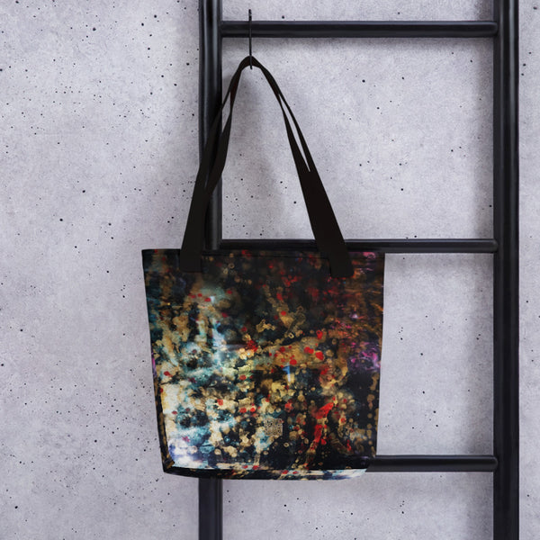 "Orchestra of Life 1 of 3 , Abstract Contemporary Chinese Ink Art, 15""x15"" Tote Bag, Made in USA - alicechanart"
