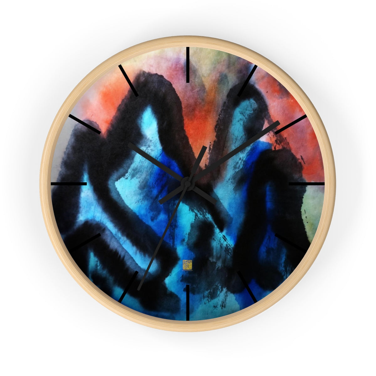 Blue Mountain Asian Contemporary Art Large Modern 10 inch Wall Clock, Made in USA - alicechanart