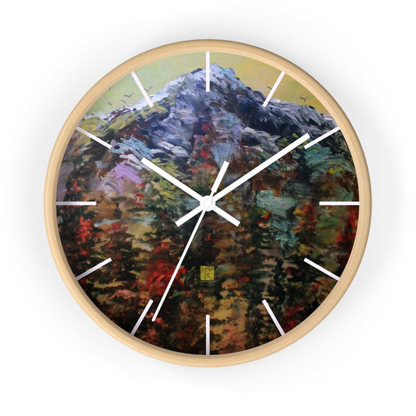 "Mountain Rainier in Yellow Sky, 10"" Diameter PNW Fine Art Wooden Wall Clock, Made in USA"