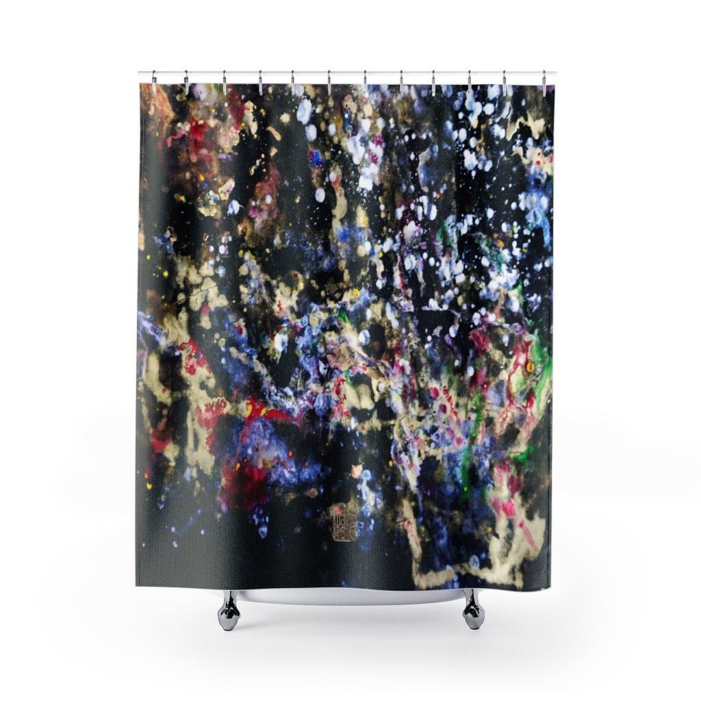 "Galaxy Art Shower Curtains, Galaxy Chinese Art Shower Curtains, Contemporary Art Shower Curtains, Abstract Art Shower Curtains, Modern Chinese Polyester 71"" x 74"" Bathroom Curtains-Printed in USA, Long Hookless Shower Curtains, Abstract Shower Curtains For Almost Any Popular Bathroom Decor, Modern Shower Curtains, Watercolor Shower Curtains"