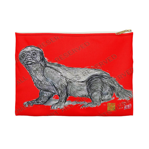 "Red Honey Badger Cute Small 9""x6"" Or Large 12""x9"" Size Flat Accessory Pouch- Made in USA - alicechanart"
