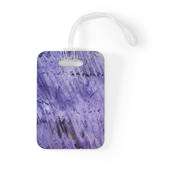 """Purple Mystery"" Abstract Wavy Pattern, Glossy Lightweight Plastic Bag Tag, Made in USA"