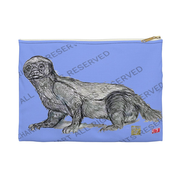 "Violet Honey Badger Cute Small 9""x6"" Or Large 12""x9"" Size Flat Accessory Pouch- Made in USA - alicechanart"