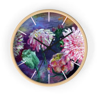 Pink Flowers Floating on the Lake, Floral Print Designer 10 inch Wall Clock- Made in USA - alicechanart