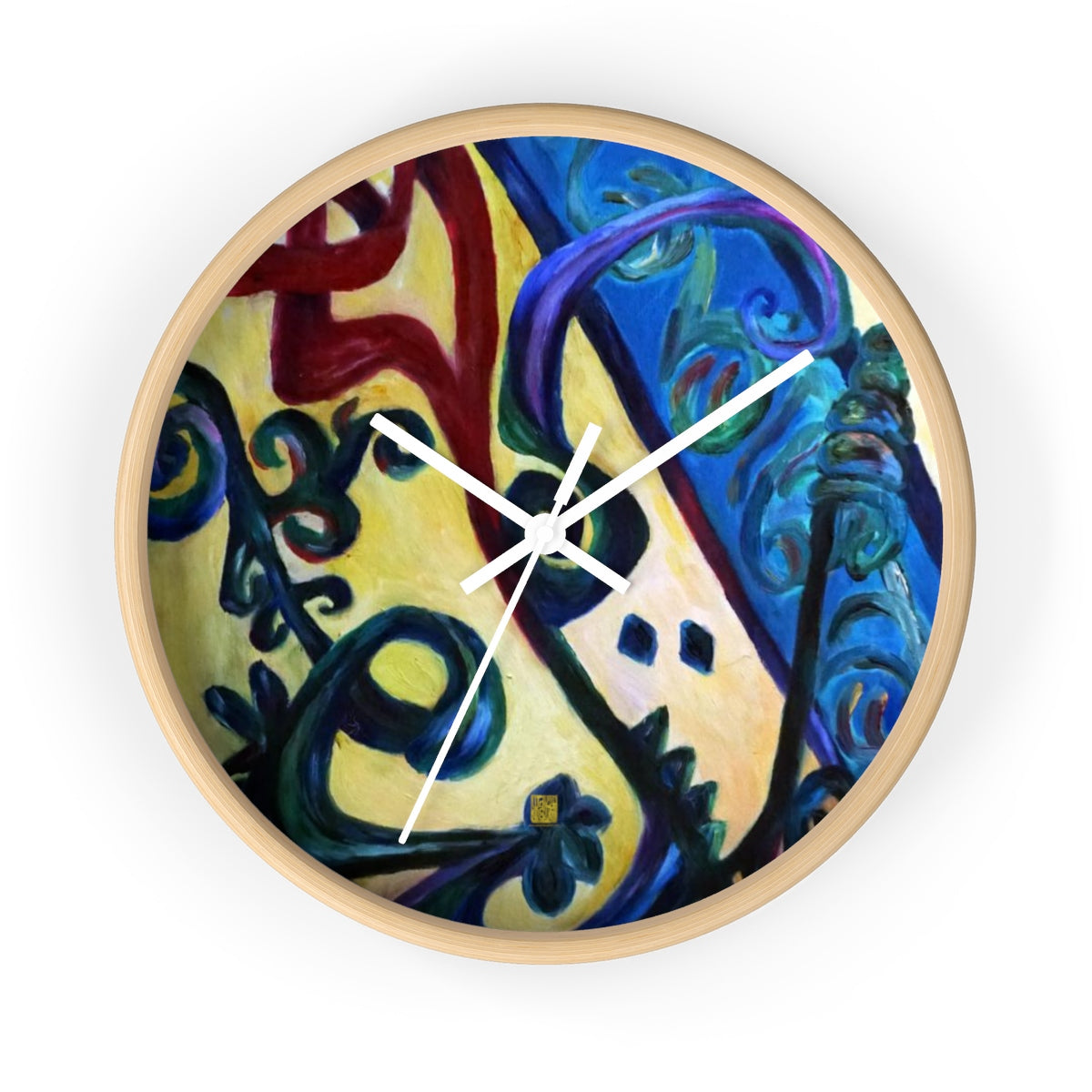 Red Rose Strength Abstract Arabic Word 10 inch Wall Clock - Made in USA - alicechanart