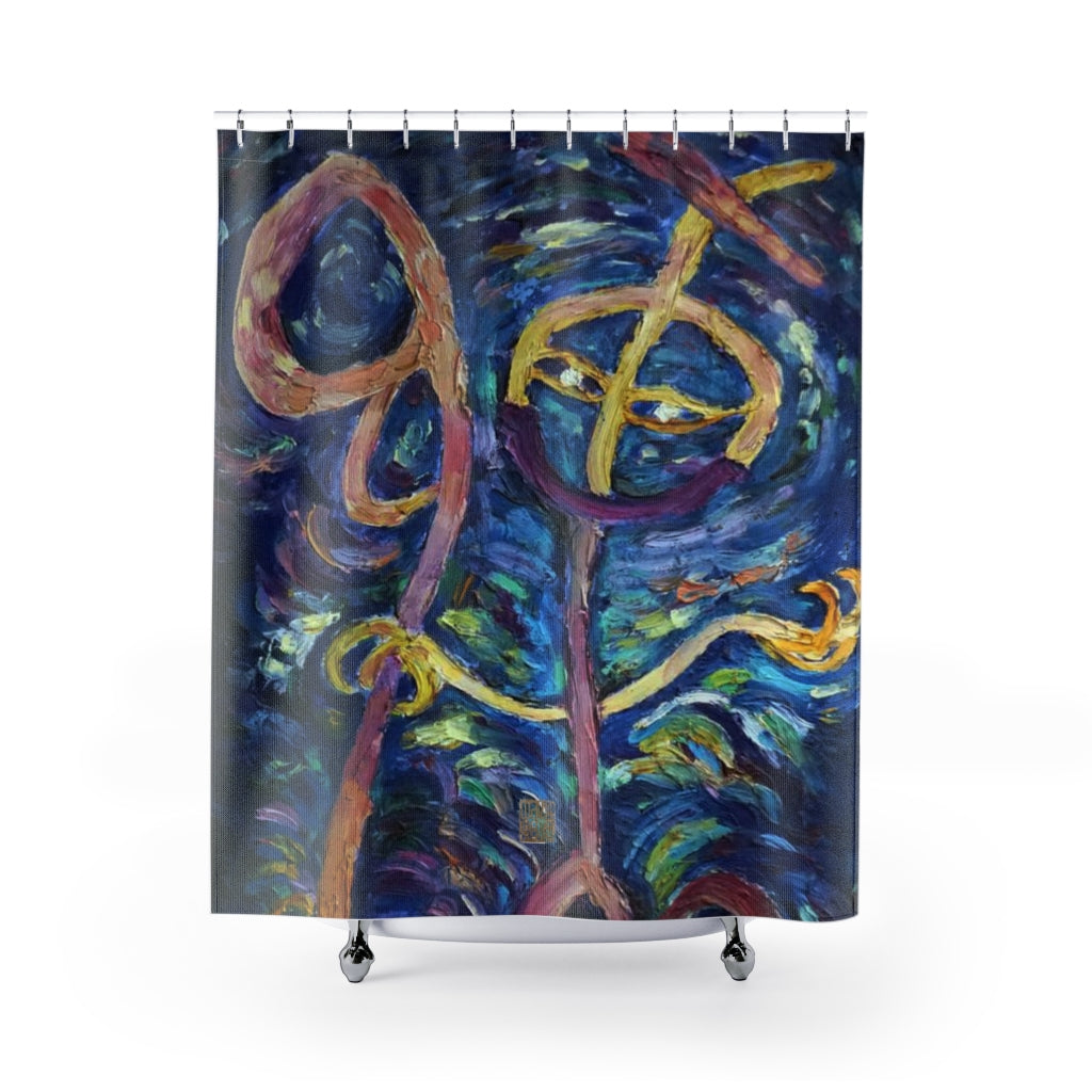 "Happy Chan Shower Curtains, Chinese Art, Contemporary Art Shower Curtains, Abstract Art Shower Curtains, Modern Chinese Polyester 71"" x 74"" Bathroom Curtains-Printed in USA, Long Hookless Shower Curtains, Abstract Shower Curtains For Almost Any Popular Bathroom Decor, Modern Shower Curtains"