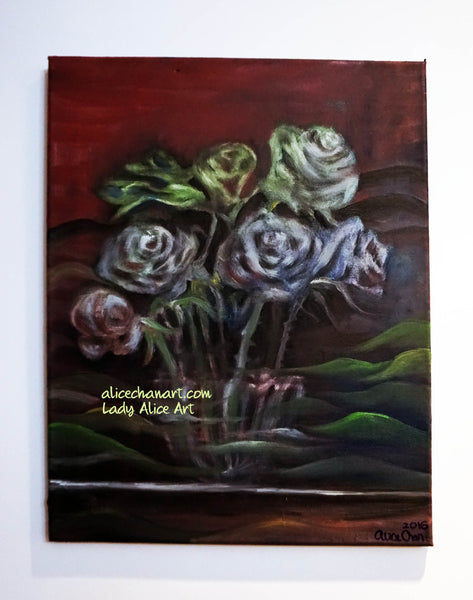 """Ghost Roses"", 16""x20"", 2016, oil on canvas, original art - alicechanart"