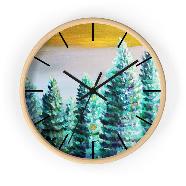 Trees In Golden Sky Art Large Modern 10 inch Wooden Wall Clock, Made in USA, Kitchen Home Decor, Mountain Pacific Northwest Art, Pine Trees