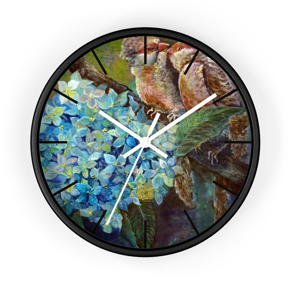 "Morning Chirping Bird Fine Art, 10"" Diameter Blue Hydrangea Flower Fine Art Wooden Wall Clock, Made in USA"