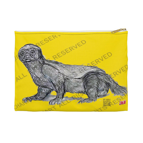 "Lemon Yellow Honey Badger Cute Small 9""x6"" Or Large 12""x9"" Size Flat Accessory Pouch- Made in USA - alicechanart"