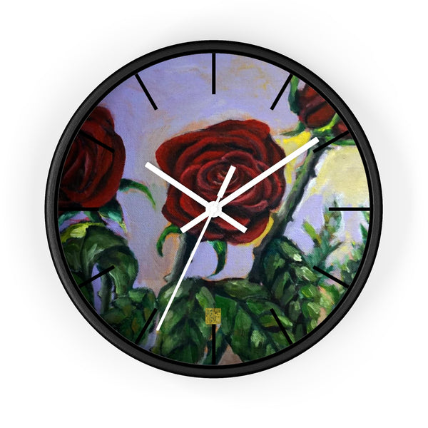 Red Rose in Pink Sky Floral 10 inch Modern Girlie Wall Clock - Made in USA