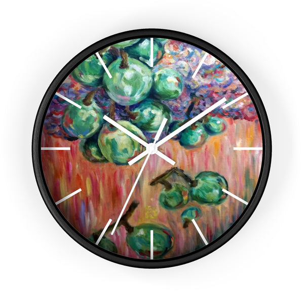 """Falling Green Grapes From The Red Hot Sky"", 10 inch Wall Clock - Made in USA - alicechanart Green Grapes Wall Clock, Kitchen Fruit Art Indoor Clock, ""Falling Green Grapes From The Red Hot Sky"", 10 inch Wall Clock - Made in USA"