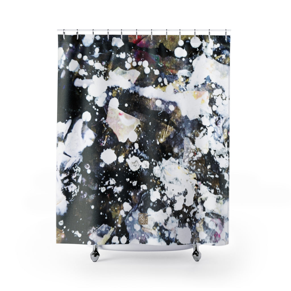 "Silver Galaxy Shower Curtains, Abstract Chinese Art Shower Curtains, Galaxy Art Shower Curtains, Galaxy Chinese Art Shower Curtains, Contemporary Art Shower Curtains, Abstract Art Shower Curtains, Modern Chinese Polyester 71"" x 74"" Bathroom Curtains-Printed in USA, Long Hookless Shower Curtains, Abstract Shower Curtains For Almost Any Popular Bathroom Decor, Modern Shower Curtains, Watercolor Shower Curtains"