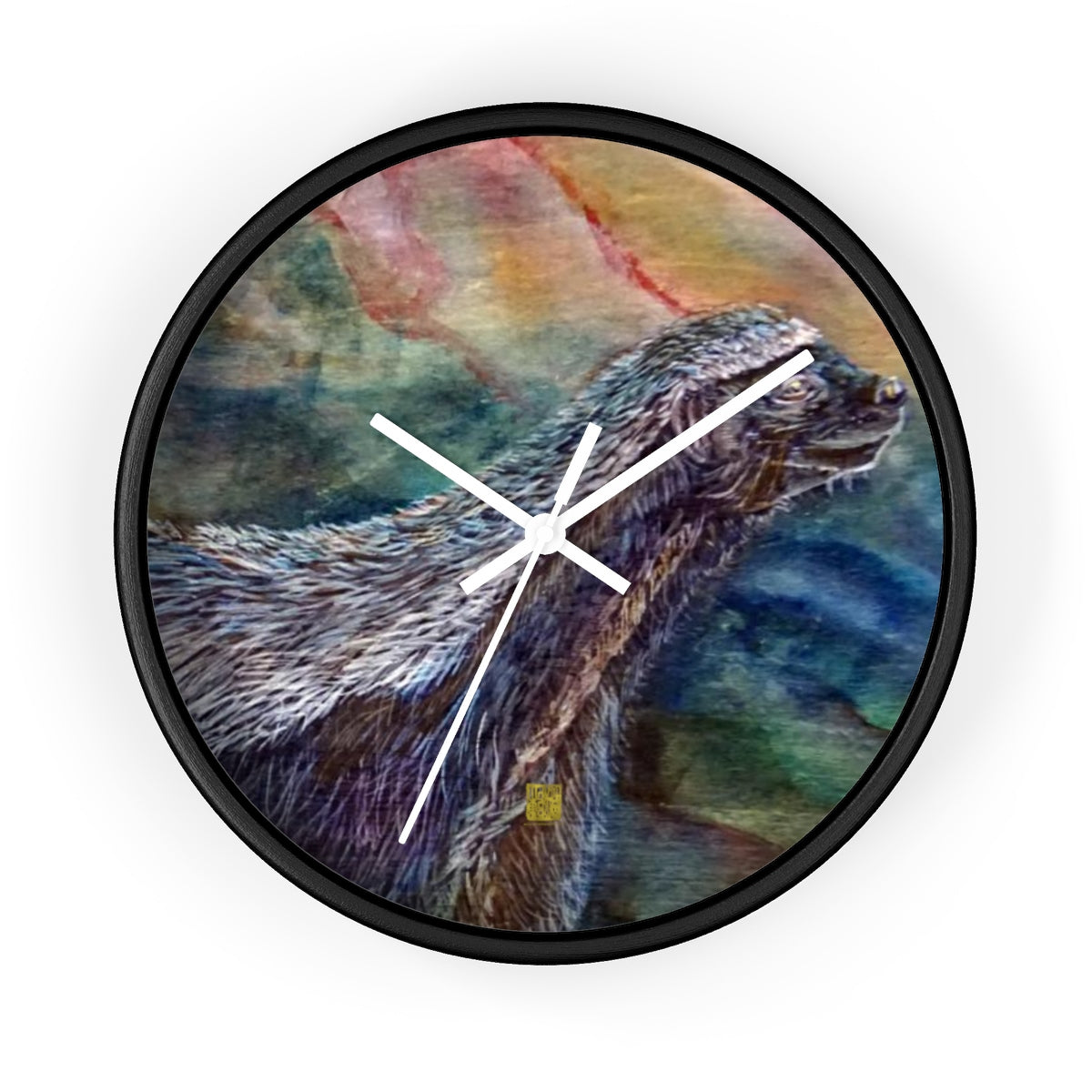 "Honey Badger Chasing Bees, 10"" Diameter Badgers Fine Art Wooden Wall Clock, Made in USA - alicechanart"