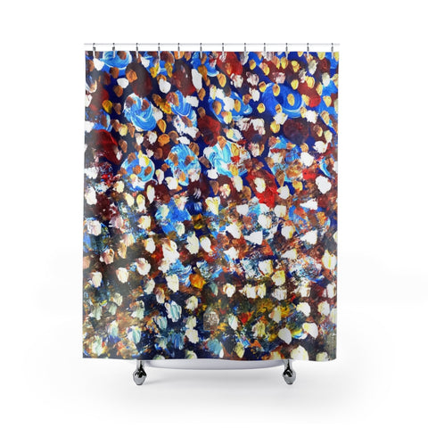 "Abstract Chinese Art Shower Curtains, Raindrops 2/3, Contemporary Art Shower Curtains, Dotted Abstract Art Shower Curtains, Modern Chinese Polyester 71"" x 74"" Bathroom Curtains-Printed in USA, Long Hookless Shower Curtains, Abstract Shower Curtains For Almost Any Popular Bathroom Decor, Modern Shower Curtains"