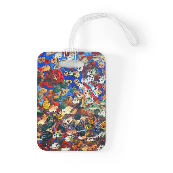 Raindrops 2/3 Designer Abstract Artistic Dotted, Glossy Lightweight Plastic Bag Tag, Made in USA
