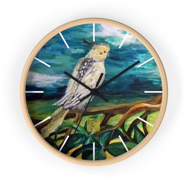 "Cockatiel White Parrot Resting On A Tree Branch, 10"" Diameter Bird Fine Art Wooden Wall Clock, Made in USA"