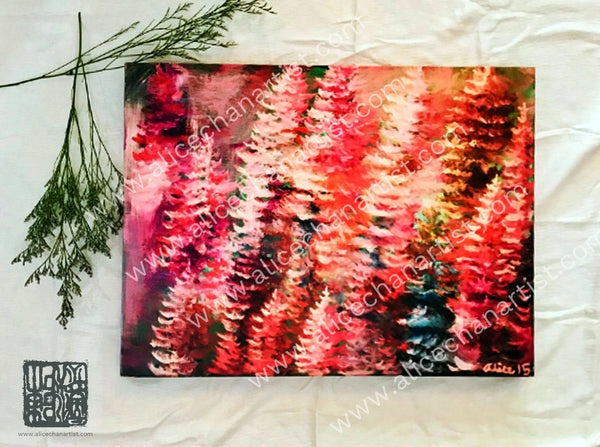 """Colorful Pines"", 2015. 18""x24"" Mounted Canvas Art Print, Made in USA - alicechanart Colorful Pines, 2015. 18""x24"" Mounted Canvas Art Print, Made in USA, Pacific Northwest PNW Wall Art Print, Mount Rainier Evergreen Landscape(Ready to Hang, Professional Framed Shop Wiring at the back is included for Horizontal Orientation)"