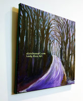 """Purple Hiking Trail"", Tree Mountain Landscape, Canvas Art Print, Made in USA, Mountain Artwork - alicechanart"