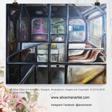 """Tram Interior Scene Hong Kong"", Art Print Poster, Made in USA - alicechanart"
