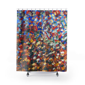 "Raindrops Curtains, Abstract Chinese Art Shower Curtains, Raindrops 2/3, Contemporary Art Shower Curtains, Dotted Abstract Art Shower Curtains, Modern Chinese Polyester 71"" x 74"" Bathroom Curtains-Printed in USA, Long Hookless Shower Curtains, Abstract Shower Curtains For Almost Any Popular Bathroom Decor, Modern Shower Curtains"