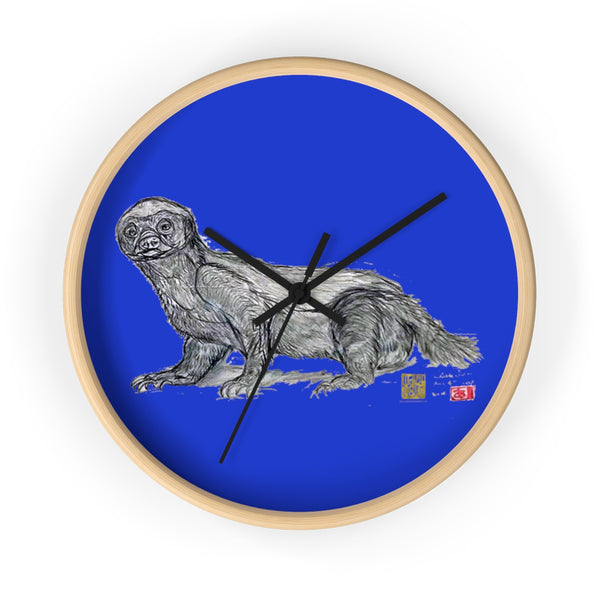 Ocean Blue Honey Badger Animal Art Modern Unique Wall Clock- Made in USA