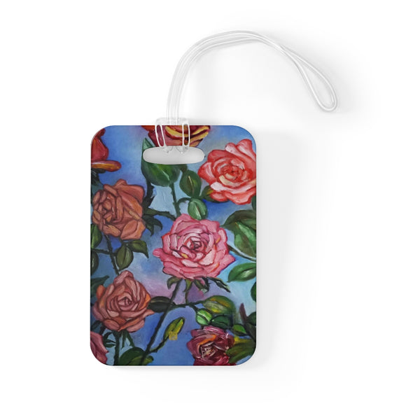 Pink Roses in Blue Sky, Rose Floral, Glossy Lightweight Plastic Bag Tag, Made in USA