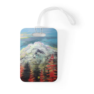 """Mount Rainier in Blue Sky"", Glossy Lightweight Plastic Bag Tag, Made in USA - alicechanart"