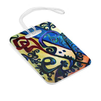 Red Rose Abstraction of Strength in Arabic, Floral Glossy Lightweight Plastic Bag Tag, Made in USA - alicechanart