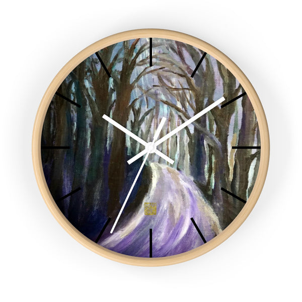 "Purple Hiking Trail, 10"" Diameter PNW Fine Art Wooden Wall Clock, Made in USA"