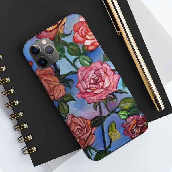 Pink Rose Art iPhone Case, Case Mate Tough Samsung or Phone Cases-Made in USA