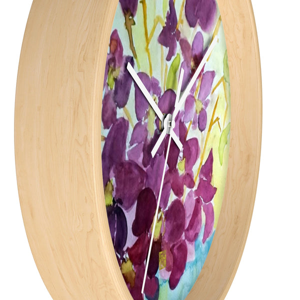 Purple Orchids Curious Exotic Orchid Floral Designer 10 inch Wall Clock - Made in USA - alicechanart